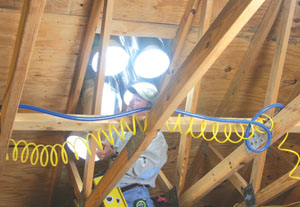 In the attic the tube extensions and/or elbows are assembled to the sun port.