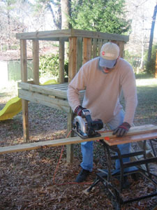 A circular saw and a portable workstation will come in handy throughout construction.
