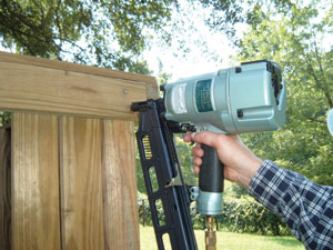 A high-quality framing nailer, like this model from Hitachi, can dramatically speed up assembly.