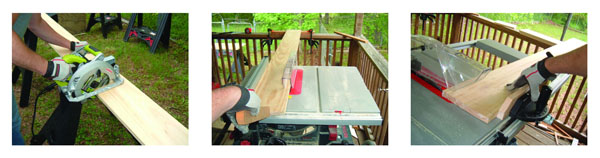 Rough-cut the boards with a circ saw… Then finish-cut the boards on a table saw … Homemade auxiliary facing for your miter gauge makes it easier to cross-cut long boards.