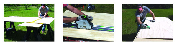 Use a T-square or chalk line to mark the cut lines on the plywood backing … A circ saw with a guide fence makes cutting plywood a breeze … Pre-sand the plywood.