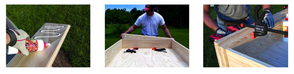 Use a quality wood glue for a sure bond when installing the top and bottom … The rear of the top was installed flush with the rear of the carcass … add a foot board to the bottom, using glue, clamps and countersunk wood screws.
