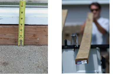 Left: Measure from the existing patio to the threshold or bottom of the door frame. Allow for the thickness of the decking material. Right: Sight down the board to determine crown. Turn the board so that the convex edge is against the fence.