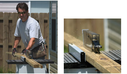 Left: Feed the board from the control side of the saw until you reach the balancing point. Right: Keep the board against the fence for a uniform cut.