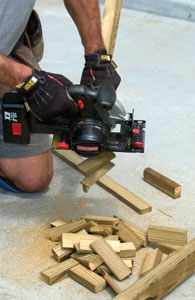 Chop (cross-cut) shims into lengths of about 4 inches.