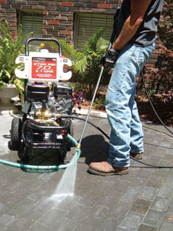 The gas-powered Maxus pressure washer shown can easily tackle home-owner chores, and serve the professional handyman as well.