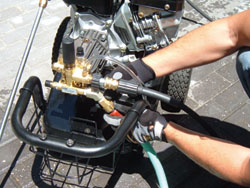 Simply attach your garden hose, and a pressure washer becomes a lean, mean cleaning machine.