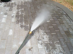 Various nozzles can be used to change the spray pattern such as this concentrated stream for high-pressure cleaning.