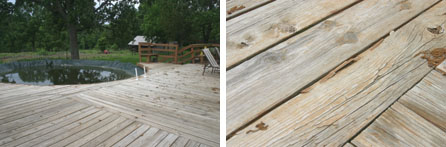 (Left) Decks take a lot of abuse from the sun, weather and traffic, and this 25 year old deck is more than ready for a redo. (Right) Split boards and popped nails are common with a deck this old.