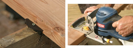 (Left) If using composite materials or redwood or cedar lumber for decking, EB-TY hidden deck fasteners can be used. (Right) First step is to cut slots in the boards with a biscuit cutter.