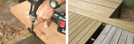 (Left) The fasteners are then fitted in the board slots and fastened with screws. (Right) The old deck shown was redone using Wolmanized Residential Outdoor pressure-treated wood, for a long lasting deck in Missouri's severely changing weather.