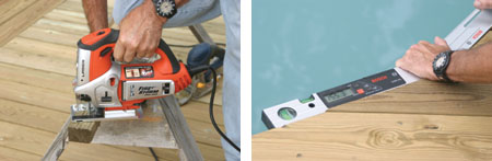(Left) The ends of the deck boards are rounded with a jigsaw. (Right) The Bosch digital angle-finder is used to determine the angle of cuts for the trim boards around the pool.