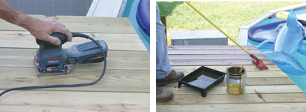 (Left) The deck is sanded smooth and cleaned thoroughly. (Right) Sikkens Cetol SRD was used to apply a transparent stain/oil finish. The finish is applied with a roller, sprayer or deck pad.