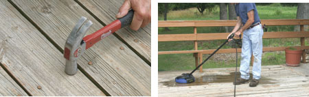 (Left) First step in repair is to drive down all popped nails. (Right) In some cases a simple cleaning chore is all that's necessary. Campbell Hausfield's electric power washer and Deck'n Drive rotary surface cleaner make cleaning dirty decks easy.