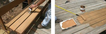 (Left) Apply a new sealer coat. Available in clear or a variety of colors, they add new beauty to old decks. (Right) The sealer can be brushed on or rolled on.