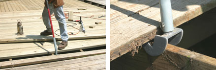 (Left) Deck boards that have splintered and split, cupped and warped, or with lots of popped nails, are best replaced with new boards. (Right) The McFeely's Deck Wrecker makes quick work of prying up old deck boards.
