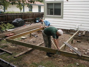 Measure opposite diagonals to ensure that the entire frame is square before you start to install decking.