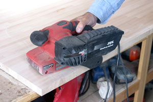 A belt sander can also be used to cut away the glue lines and sand the top and bottom surfaces smooth.