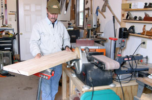 The edge of the rounded corner was then sanded smooth with a disc sander.
