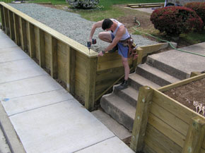 the last wall piece is the 2 by 10 cap installed flush to the - Timber Retaining Wall Design