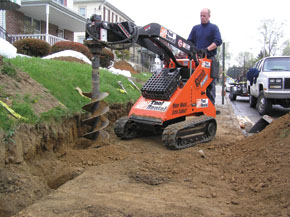 We dug 30 4-foot deep holes in one long day with this machine, including all the bucket work.