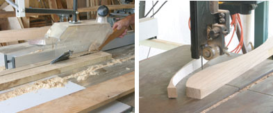 Left: As the swing uses two different thicknesses of material, first step is to plane to the correct thickness, then rip the various pieces to the correct widths and joint all edges. Right: Enlarge the squared drawings to create patterns, then cut the pieces such as the seat supports on a bandsaw.