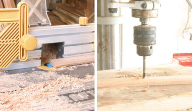 Left: The seat slats have their top edges rounded using a round-over bit in a router table. Right: The simplest way to do most of the counterboring is with a forstner bit in a drill press.