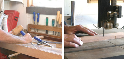 Left: Clean up the mortises and remove the waste material with an edge chisel the size of the mortise. Right: Cut the slats to size and then cut their curved shapes.