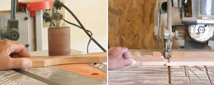 Left: Sand on a drum or spindle sander. Right: Cut the tenons on the slats using a table saw and/or tenon cutter, or a dado head on a radial arm saw (as shown here).
