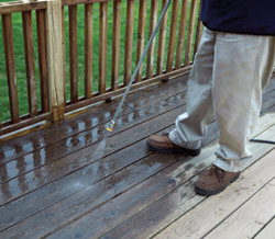 A thorough cleaning to remove dirt and debris is the first step to renew the surface the exterior wood.