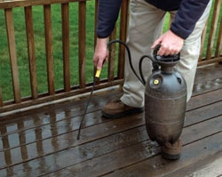 "Apply special ""Deck Cleaning"" products to brighten the wood. In some cases a chemical stripper may be necessary to remove traces of old sealant."