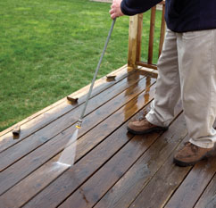 Use caution when using a pressure washer. Too much pressure can damage the wood grain.