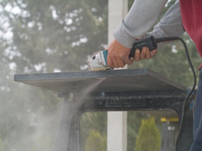 Cutting Granite Countertop : Dry cutting granite produces a lot of fine dust. Take precautions to ...