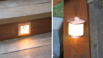 Left: Recessed step lighting, such as that from Highpoint can be used to provide lighting for steps and stairs. Right: Railing lights can also provide more light for railings over steps or as a decor for the deck.