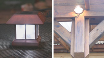 Left: Solar lights can also be set on a table for party illumination. Right: Malibu deck lights placed on the upper framework of the sunroof provides a soft down light on the deck below.