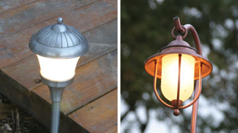 Left: Ground-stake held lights, such as these from Malibu, can be used around low decks. Right: A hanging lantern light can be fastened to a deck with a block of wood with a groove cut in it the diameter of the fixture tube.
