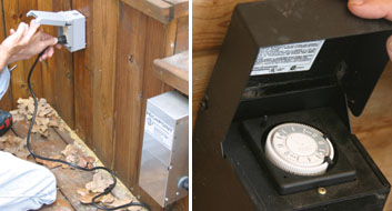 Left: The transformer must be installed near and plugged into a GFCI outlet in a weatherproof box. Right: Some transformers are timer activated.