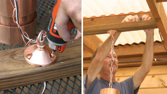 Left: A hanging light for a deck canopy is fastened to a support block, with wires run through the block. Right: The block is then fastened to the sunroof framing and the fixture wires are attached to the secondary wires.