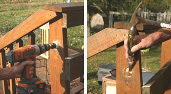 """Left: Make a 1-1/4 hole 1-1/2"""" deep in the post , or 1"""" deep in the railing to receive the fixture. Right: Chisel the waste material out of the hole."""