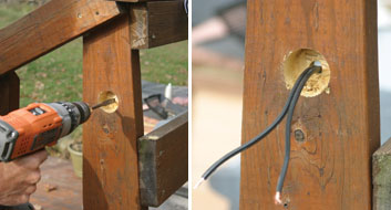 "Left: Bore a 1/2"" hole through the remainder of the post or railing. Right: Feed secondary wire through the back into the hole."