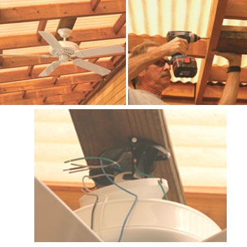 Upper Left: An outdoor ceiling fan can make a deck canopy or sunroof much more comfortable in the hot summer months. Upper Right: A light fixture box is attached to a support piece. The Support piece is then attached to the underside of the canopy or sunroof framing. Below: An electrical wire is run from a switch to the fixture box, and the fan assembled, attached and wired in place.