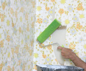 Then, start at the top, apply a wallpaper stripper, such as Zinsser DIF Liquid Concentrate or DIF Ready-to-Use Gel using a WalWorks Adhesive & Stripper Roller.