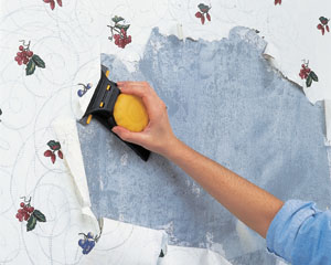 Allow the stripper to work for about 20 minutes, and then use a scraper to remove the loosened paper. The Zinsser Paper Scraper Wallpaper Remover and Wall Scraper has an angled blade and large handle, allowing you to scrape off stubborn sections of paper without damage to the wall surface.