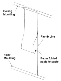 Hold the top of the folded paper in place against the plumb line and lightly smooth the top in place.