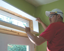 We moved the surrounds into the window openings and left them loose so we could adjust them for alignment.