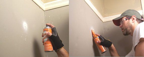 We repaired the walls with Jigaloo, a three-part spackle kit in a can.