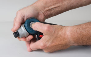 The articulating head of the Bosch PS10-2 can be adjusted to drive fasteners at a wide variety of angles.