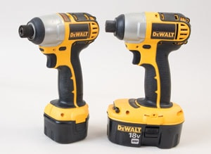 DeWalt offers lighter duty 9.6V and heavy-duty 18V versions of its impact drivers.