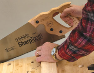 Begin the cut by guiding the blade with your thumb or finger as you push the first few inches.