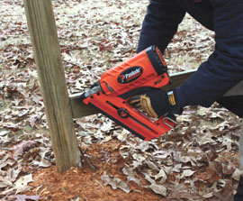 A cordless nailer like the paslode model shown is an excellent time and labor saver for any major framing project.